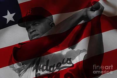 Baseball Mixed Media - Jackie Robinson Number 42 by Marvin Blaine