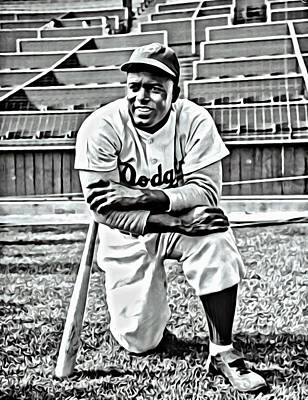 Dodgers Painting - Jackie Robinson Painting by Florian Rodarte