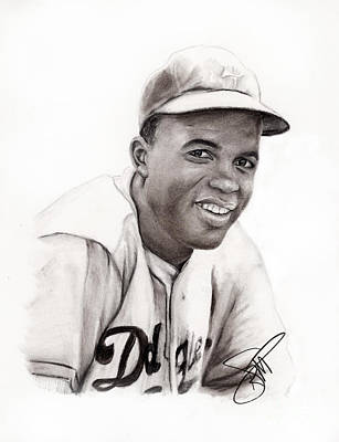 Athletes Drawing - Jackie Robinson by Rosalinda Markle