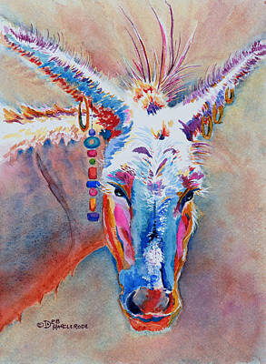 Donkey Watercolor Painting - Jack's Girl by Deb  Harclerode