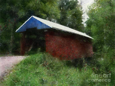 Covered Bridge Painting - Jacks Hallow Covered Bridge by Scott B Bennett