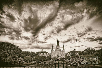 Jackson Square And St. Louis Cathedral In Black And White - New Orleans Louisiana Print by Silvio Ligutti