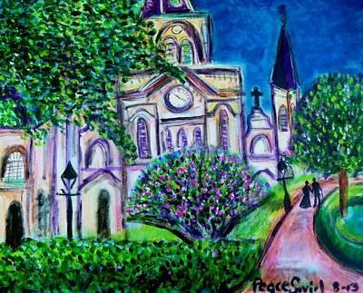 Catherdral Painting - Jackson Square Stroll by Debora PeaceSwirl DAngelo