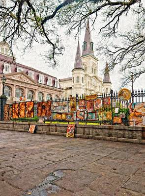 Jackson Square Winter Impasto Print by Steve Harrington