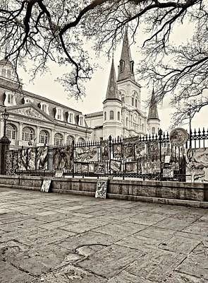 Jackson Square Winter Sepia Print by Steve Harrington