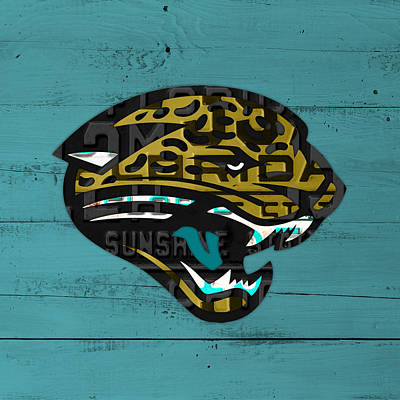 Jacksonville Jaguars Football Team Retro Logo Recycled Florida License Plate Art Print by Design Turnpike