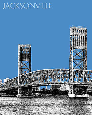 Jacksonville Skyline 2  Main Street Bridge - Slate Blue Print by DB Artist