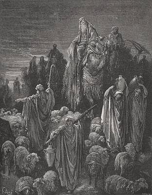 Sheep Drawing - Jacob Goeth Into Egypt by Gustave Dore