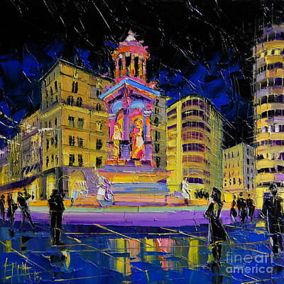 Unesco Painting - Jacobins Fountain During The Festival Of Lights In Lyon France  by Mona Edulesco