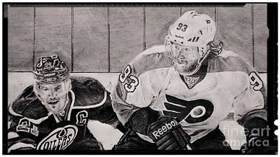Philadelphia Flyers Drawing - Jacub Voracek by Ezra Strayer