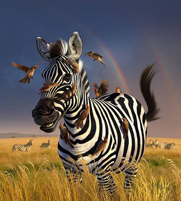 Zebra Digital Art - Jailbird by Jerry LoFaro