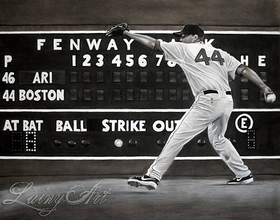 Fenway Park Drawing - Jake Peavy - Red Sox Commission by Alaina Ferguson
