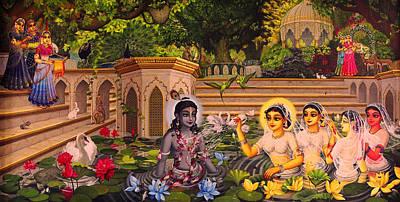 Temple Painting - Jala Keli On Radha Kunda by Vrindavan Das