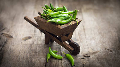 Peppercorns Photograph - Jalapenos Chili Pepper In A Miniature Wheelbarrow by Aged Pixel