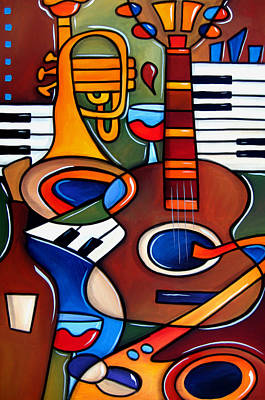Modern Abstract Art Drawing - Jam Session By Fidostudio by Tom Fedro - Fidostudio