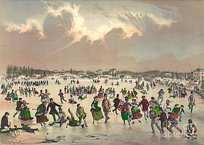 Winter Fun Photograph - Jamaica Pond Massachusetts 1859 by Padre Art