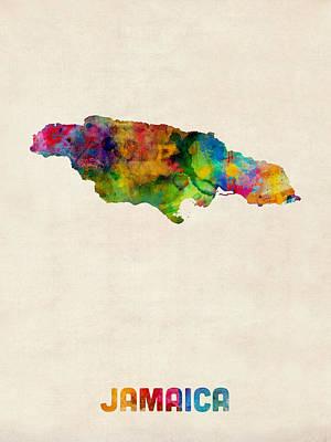 Latin America Digital Art - Jamaica Watercolor Map by Michael Tompsett