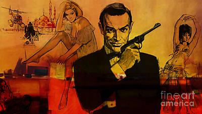 Sean Connery Mixed Media - James Bond by Marvin Blaine