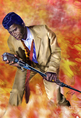 African-american Painting - James Brown And His Famous Flames by Reggie Duffie