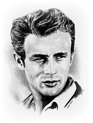 Idol Drawing - James Dean by Andrew Read