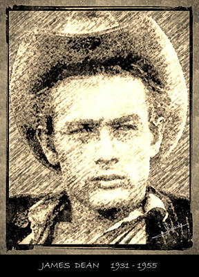 Stars Drawing - James Dean by George Rossidis