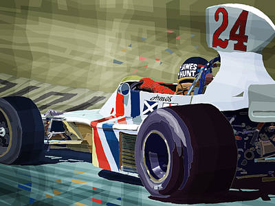 James Hunt 1975 Hesketh 308b Print by Yuriy Shevchuk