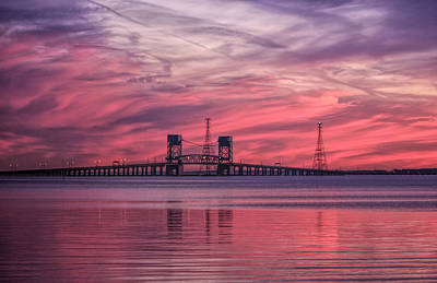 Sunset At The Bridge Photograph - James River Bridge At Sunset by Olahs Photography