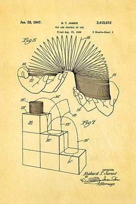 Helical Photograph - James Slinky Toy Patent Art 3 1947 by Ian Monk