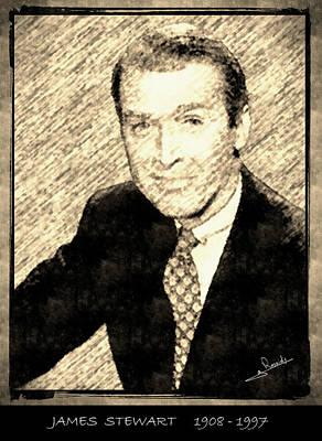 Cinema Drawing - James Stewart by George Rossidis
