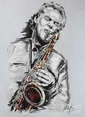Sax Drawing - Jan Garbarek by Melanie D