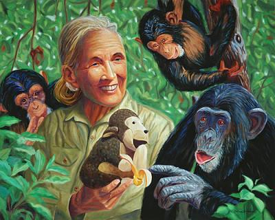 Chimpanzee Painting - Jane Goodall by Steve Simon