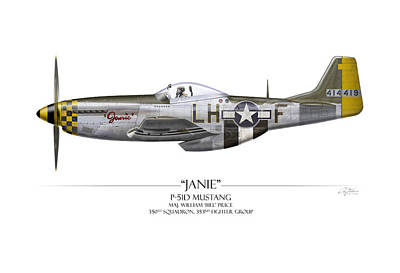 Tinder Digital Art - Janie P-51d Mustang - White Background by Craig Tinder