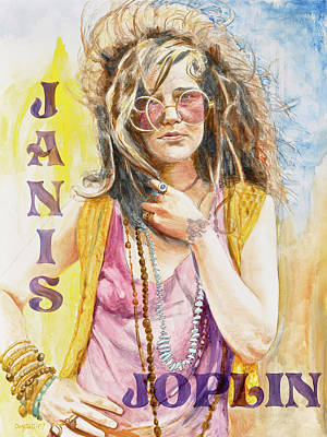 Rock Poster Painting - Janis Joplin Painted Poster by Kathryn Donatelli