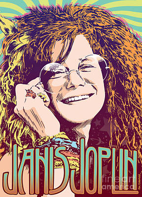 1960s Digital Art - Janis Joplin Pop Art by Jim Zahniser