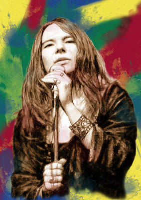 Janis Joplin - Stylised Drawing Art Poster Print by Kim Wang