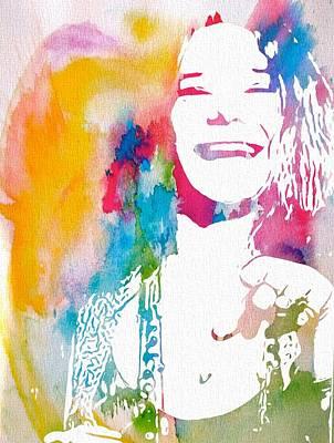 Rock N Roll Icons Digital Art - Janis Joplin Watercolor by Dan Sproul