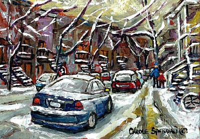Montreal Memories Painting - January In Montreal Snow Covered Streets  Verdun Cars In Winter City Scene Paintings Carole Spandau by Carole Spandau