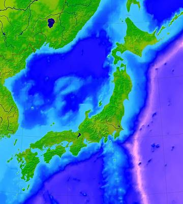 Japan Relief Photograph - Japan, Bathymetric Map by Science Photo Library