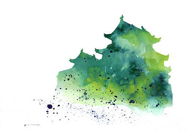 Castle Mixed Media - Japanese Castle Silhouette Watercolor Poster by Joanna Szmerdt