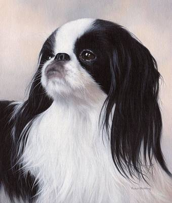 Small Dogs Painting - Japanese Chin Painting by Rachel Stribbling
