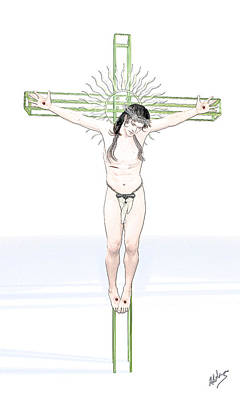 Male Nude Drawing Drawing - Spiritual Christ by Quim Abella