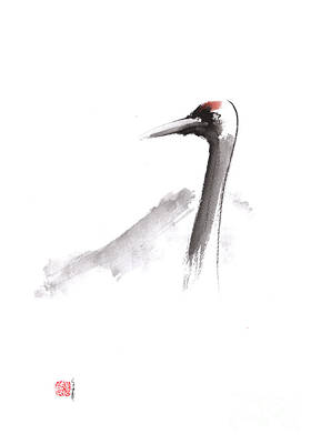 Crane Painting - Japanese Crane And Mount Fuji Original Artwork by Mariusz Szmerdt