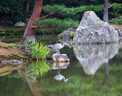 Japanese Crane Upon The Water Print by Laura Palmer
