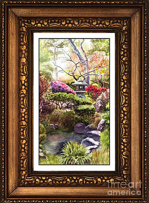 Japanese Garden In Vintage Frame Print by Irina Sztukowski