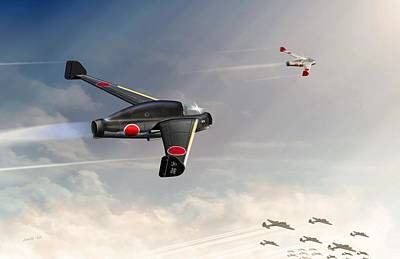 Will Power Digital Art - Japanese Kayaba Katsuodori Ww2 Jet by John Wills