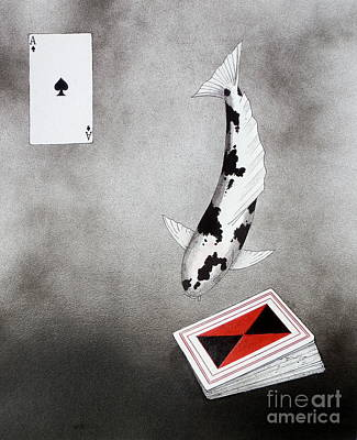Rubiks Cube Painting - Japanese Koi Ace Of Spades by Gordon Lavender