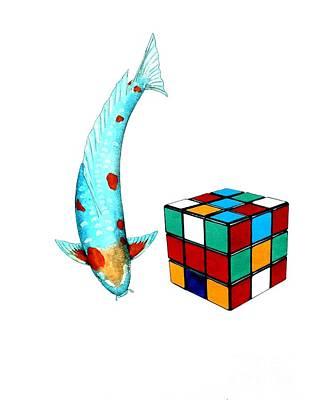 Rubiks Cube Painting - Japanese Koi Ochiba Cubism Painting by Gordon Lavender