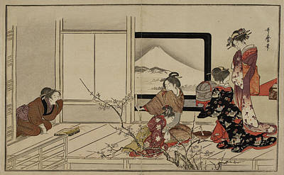 Japanese Lady And Servants Print by British Library