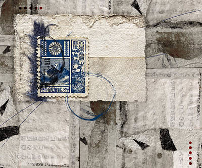 Torn Mixed Media - Japanese Postage 20 Sen by Carol Leigh