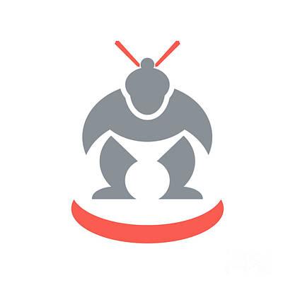 Sumo Digital Art - Japanese Sumo Wrestler Front by Aloysius Patrimonio